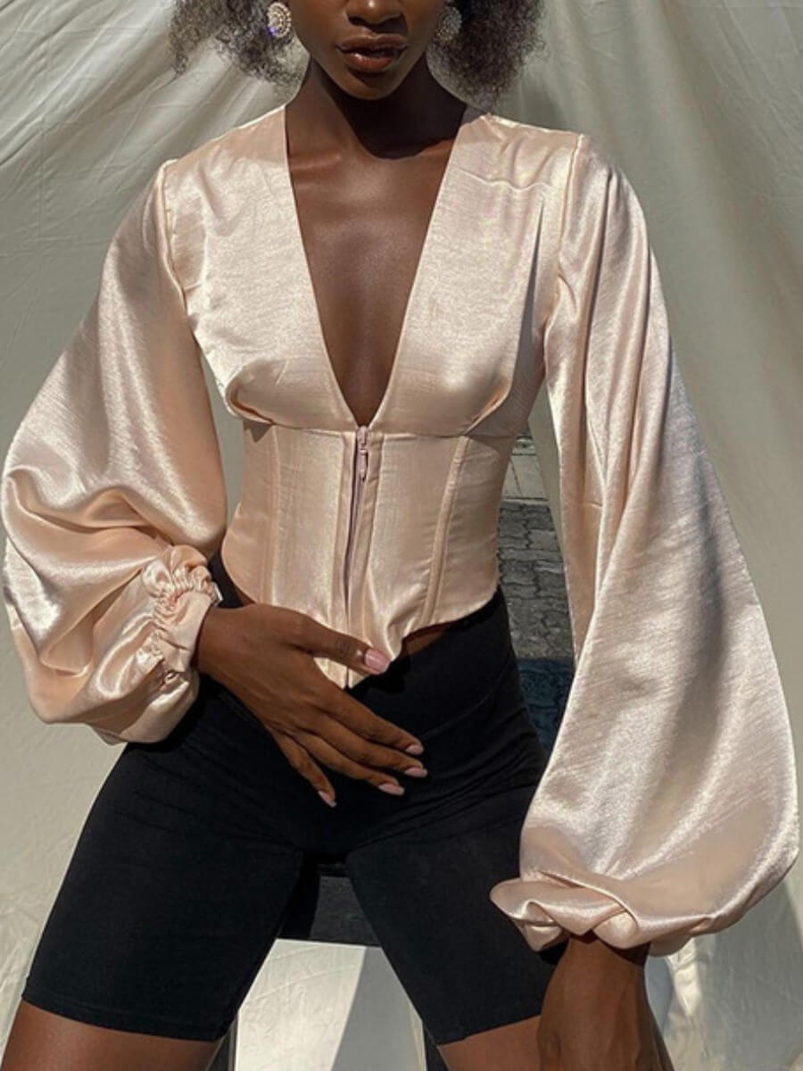 Lovely Stylish Deep V Neck Batwing Sleeve Pink Blo