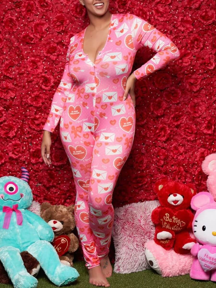Lovely Cute U Neck Print Pink One-piece Jumpsuit