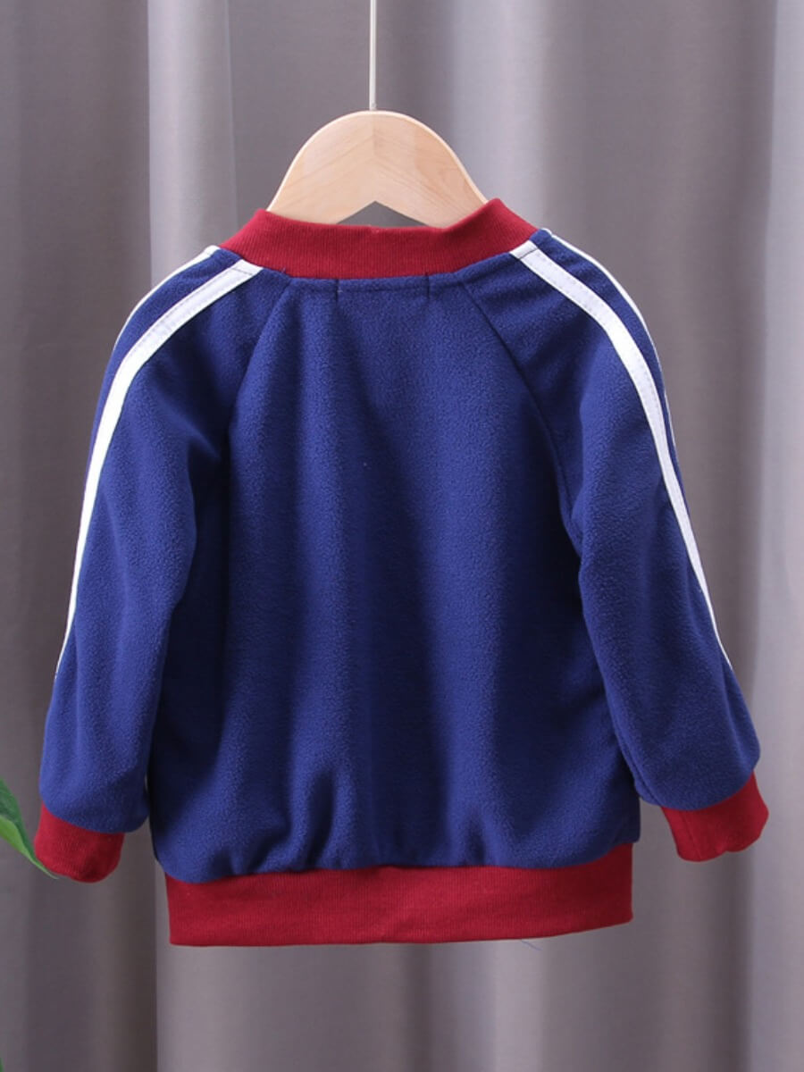 Lovely Sportswear Mandarin Collar Patchwork Navy B