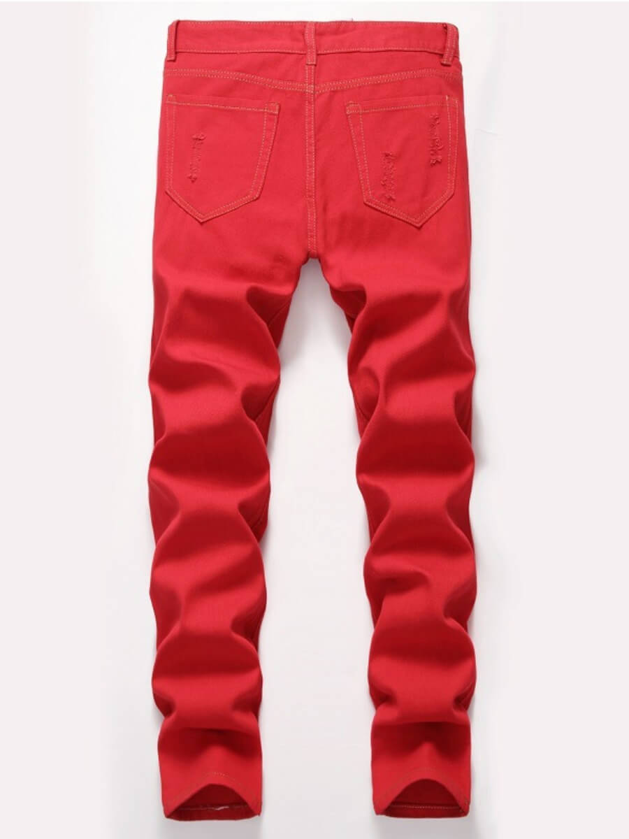 Lovely Casual Broken Holes Patchwork Red Men Jeans