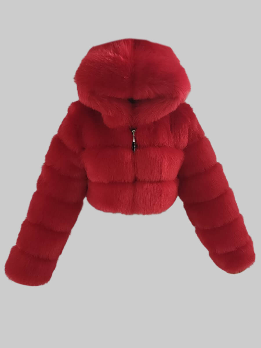 Lovely Casual Hooded Collar Zipper Design Bright Red Faux Fur