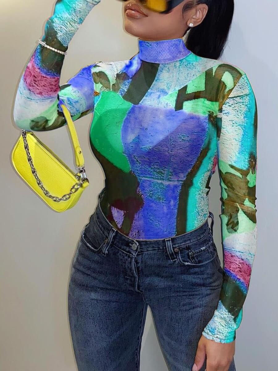 LW Street Turtleneck Color-lump Print Blue T-shirt