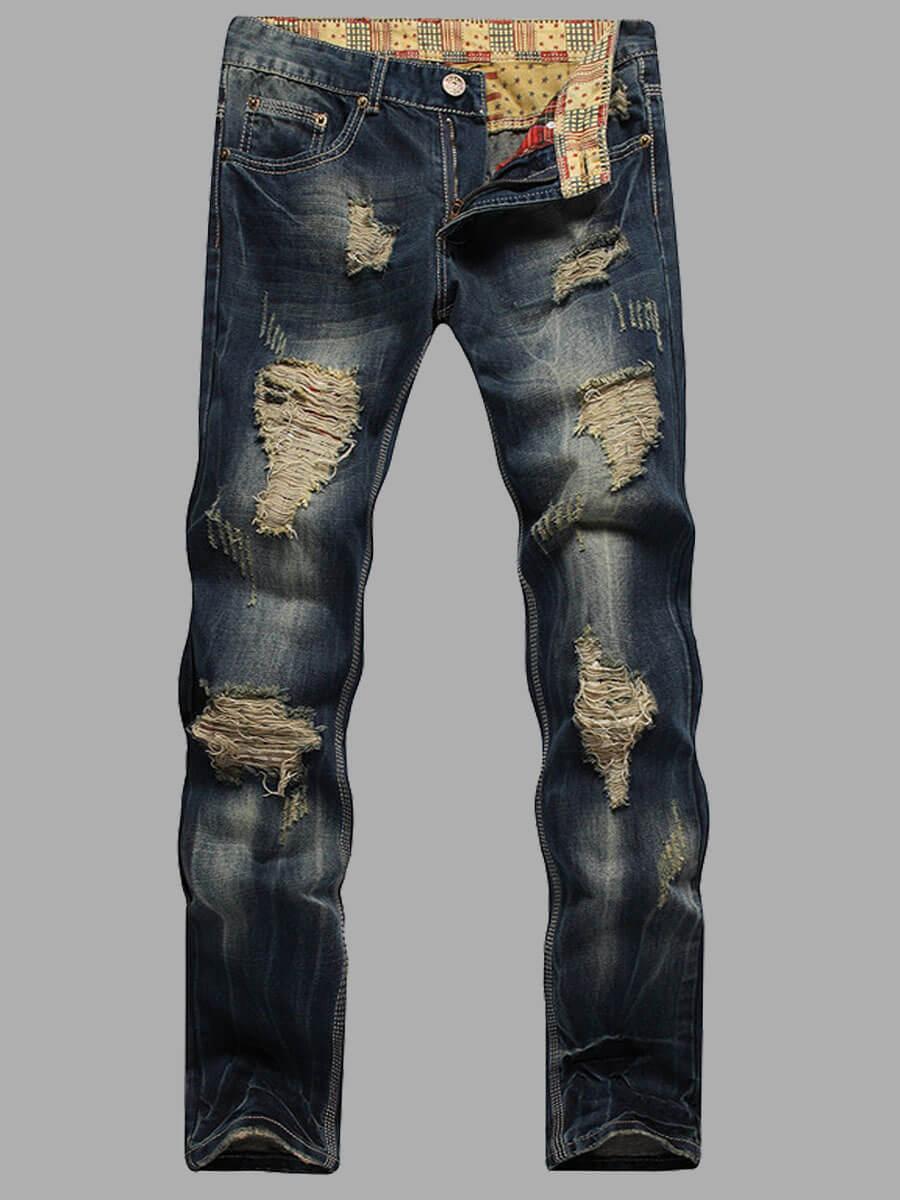 LW Men Casual Denim Retro Ripped Jeans