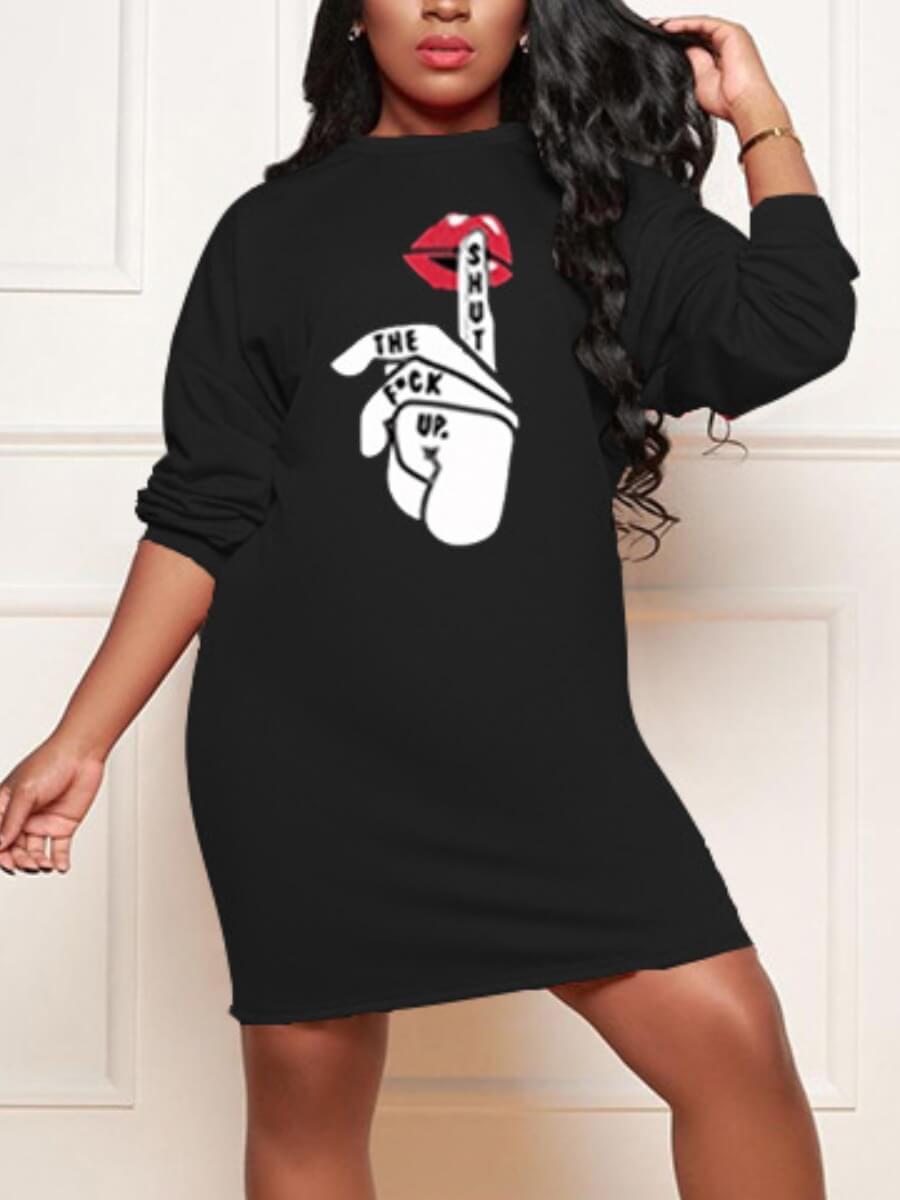 lovelywholesale / LW Lovely Street Lip Print Patchwork Asymmetrical Black Knee Length Dress