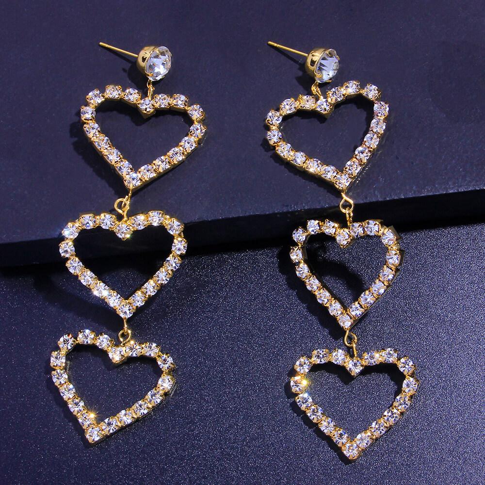 Lovely Stylish Heart Gold Earring