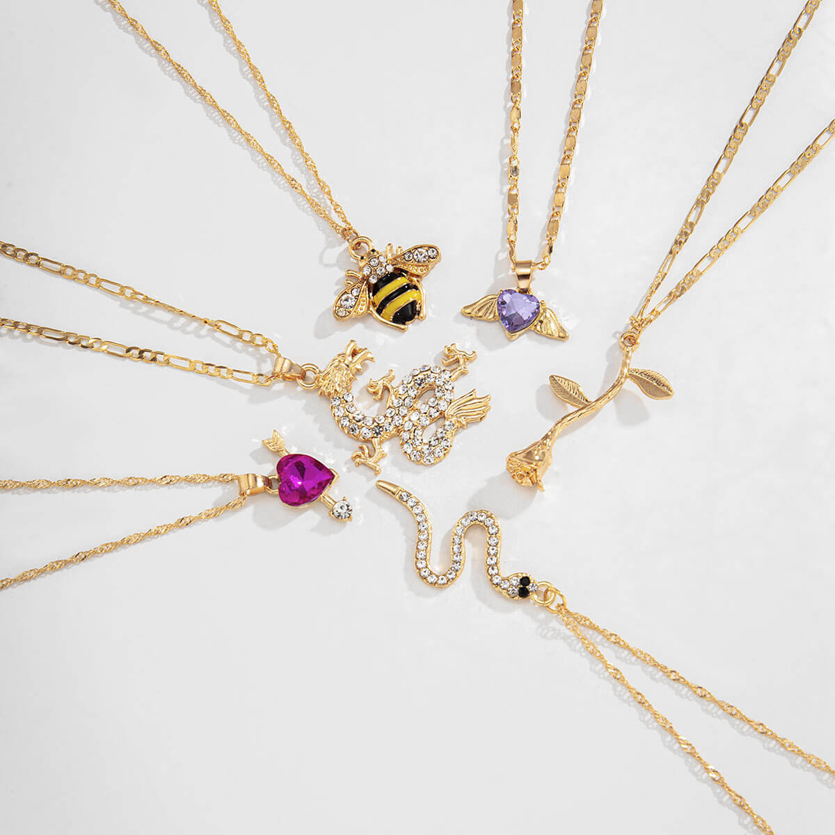 Lovely Retro 6-piece Gold Necklace