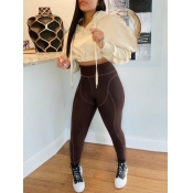 Lovely Sportswear Hooded Collar Dropped Shoulder Brown Two Piece Pants Set