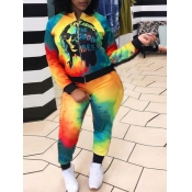 Lovely Sportswear Tie Dye Letter Print Multicolor Two Piece Pants Set