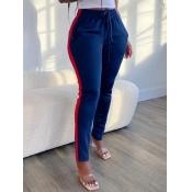 Lovely Sportswear Patchwork Blue Pants