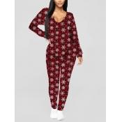 Lovely Star Print Dull Red Sleepwear