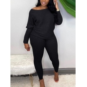 Lovely Casual Boat Neck Long Sleeve Black Two Piece Pants Set