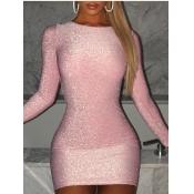 Lovely Stylish O Neck Skinny Pink Mini Dress