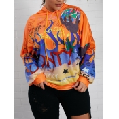 Lovely Casual Hooded Collar Graffiti Print Patchwo