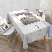 Lovely Letter Print Patchwork Grey Table Linens