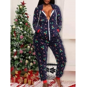 Lovely Casual Hooded Collar Christmas Day Print Bl