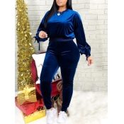 Lovely Casual Lantern Sleeve Blue Velvet Two Piece