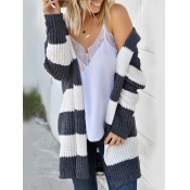 Lovely Casual Striped Patchwork Dark Grey Cardigan