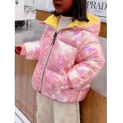Lovely Stylish Hooded Collar Zipper Design Pink Gi