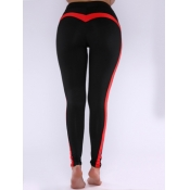 Lovely Sportswear Patchwork Skinny Red Pants