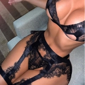 Lovely Sexy Lace See-through Black Bra Sets