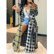 Lovely Casual Plaid Print Patchwork Multicolor Trench Coat