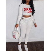 Lovely Casual Letter Print Lace-up Hollow-out White Two Piece Pants Set