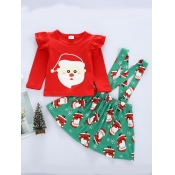 Lovely Sweet O Neck Print Red Girl Two-piece Skirt