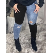 Lovely Street Patchwork Hollow-out Black Jeans