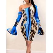 Lovely Stylish Print Skinny Blue Knee Length Sheat