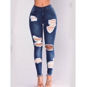 Lovely Street Broken Holes Skinny Blue Jeans