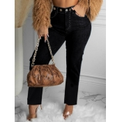 Lovely Casual High-waisted Nonelastic Black Jeans