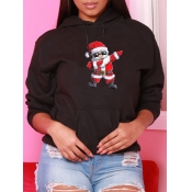 Lovely Casual Hooded Collar Santa Claus Print Blac