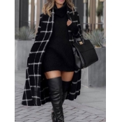 Lovely Casual Plaid Print Lace-up Black Plus Size