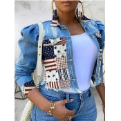 Lovely Street American Flag Print Patchwork Blue P