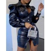 Lovely Stylish Button Ruffle Design Black Leather
