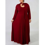 Lovely Casual Long Hollow-out Wine Red Floor Lengt