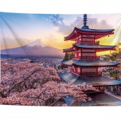 Lovely Landscape Print Patchwork Pink Wall Cloth
