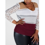 Lovely Trendy V Neck Lace Patchwork Wine Red Sweat