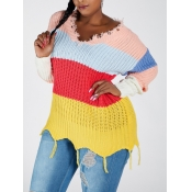 Lovely Trendy V Neck Rainbow Striped Multicolor Sw