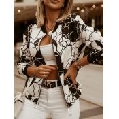 Lovely Casual Long Sleeve Print Zipper Design Blac