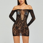 Lovely Sexy See-through Hollow-out Black Babydoll