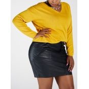 Lovely Casual V Neck Basic Yellow Sweater