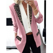 Lovely Formal Turndown Collar Leopard Print Pink B
