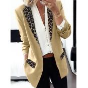Lovely Formal Turndown Collar Leopard Print Khaki