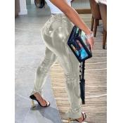 Lovely Stylish Heap Skinny Silver Pants