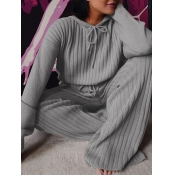 Lovely Casual Hooded Collar Drawstring Grey Plus S