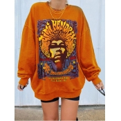 Lovely Casual O Neck Print Orange Plus Size Hoodie