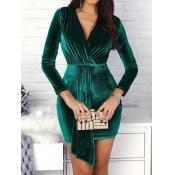 Lovely Work V Neck Fold Design Green Mini Dress