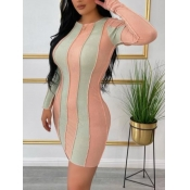 Lovely Casual Striped Patchwork Pink Mini Dress