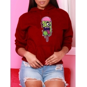 Lovely Casual Hooded Collar Print Wine Red Hoodie